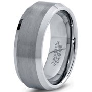 Tungsten Wedding Band Ring 8mm For Men Women Comfort Fit Beveled Edge Brushed Lifetime Guarantee