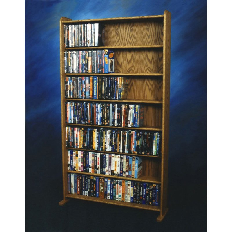 The Wood Shed Solid Oak 7 Row Media Cabinet \/ Bookcase