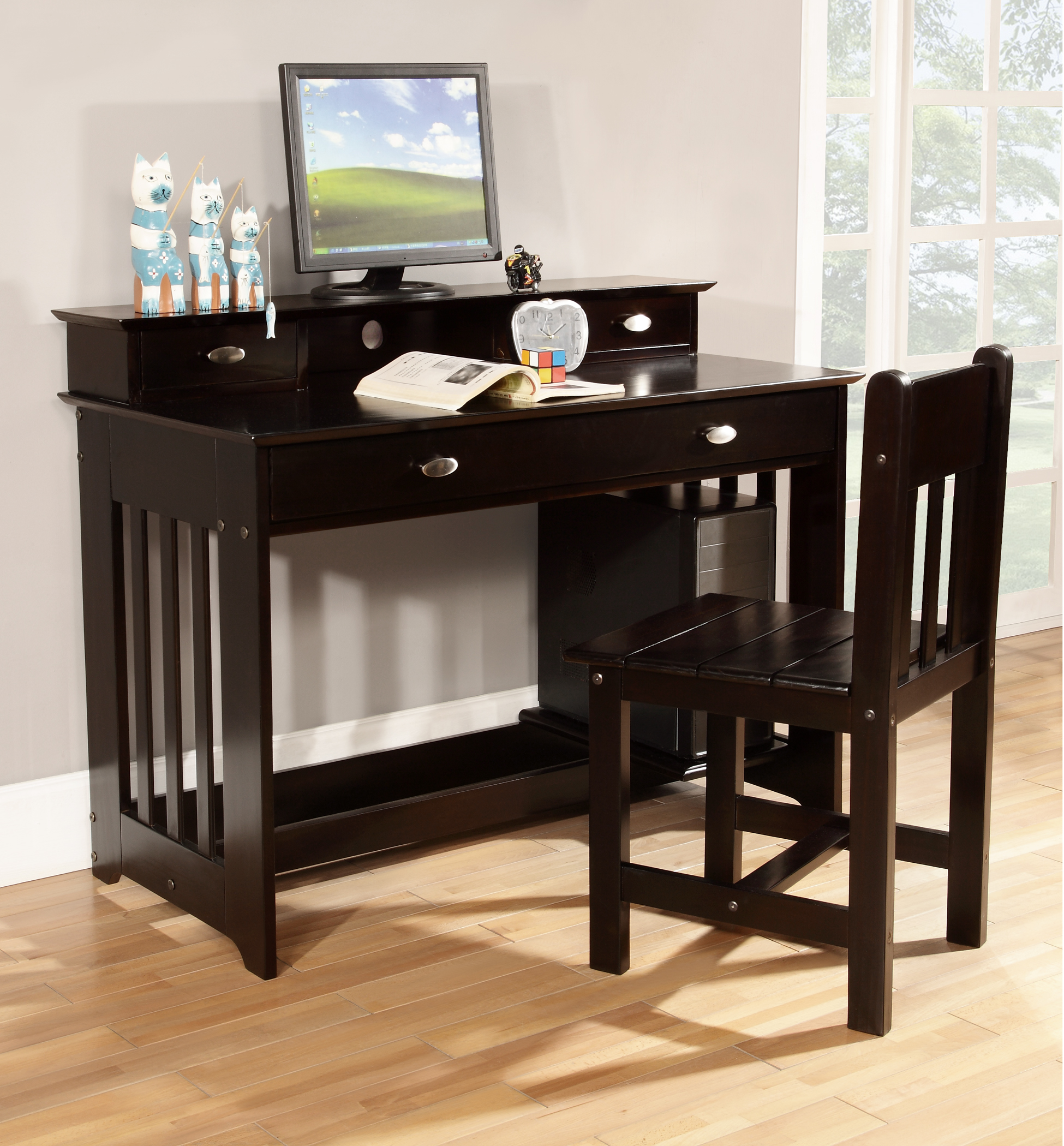American Furniture Classics Model 2968, Solid Pine Student Desk with Hutch and Chair in Espresso