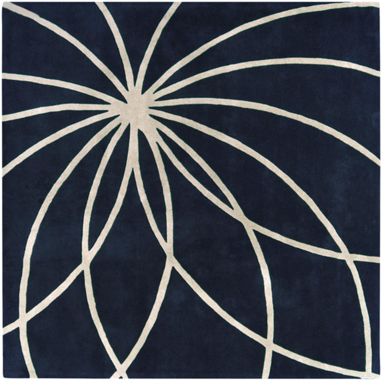 6' x 6' Plasma Elektra Antique White & Dark Blue Hand Woven Square Wool Area Rug