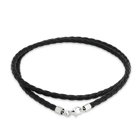 Black Genuine Leather Braided Weave Necklace Pendant Cord For Women For Men Teen Silver Plated Lobster Claw Clasp