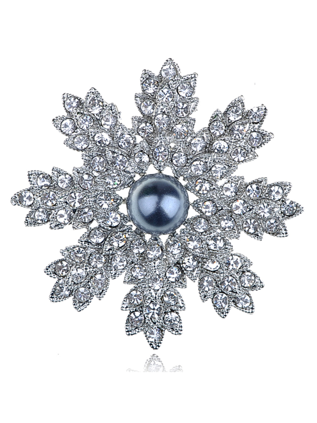 Stunning Clear Crystal Rhinestone Faux Pearl Christmas Snowflake Pin Brooch
