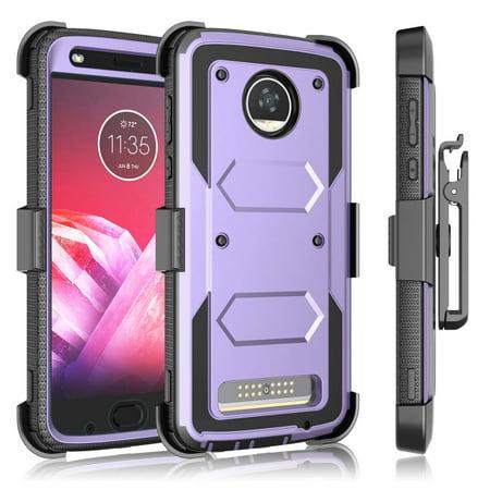 Tekcoo Case Motorola Moto Z3 Play / Moto Z2 Play / Moto Z2 Force, Phone Case [Built-in Screen Protector] Locking Secure Swivel Belt Kickstand Cover Carrying Armor Case (Best Case For Moto Z2 Play)