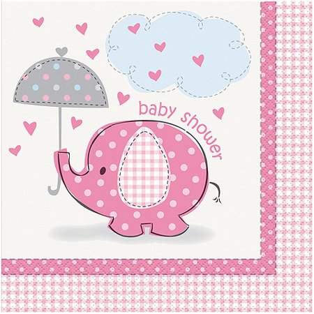 (3 Pack) Elephant Baby Shower Napkins, 6.5 in, Pink, 16ct](Baby Shower Plates Cups Napkins)