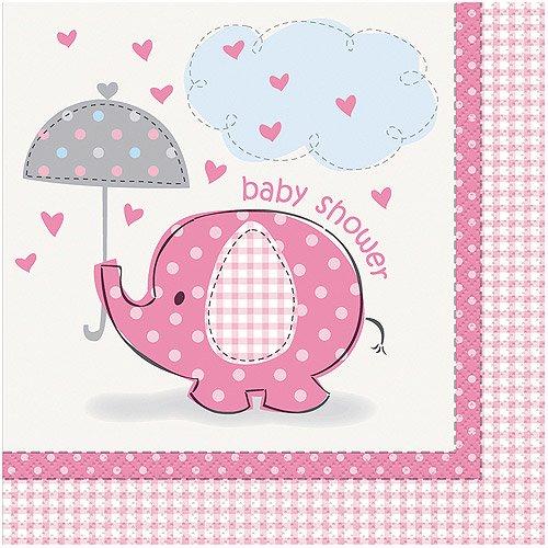Elegant Elephant Baby Shower Napkins, 6.5 In, Pink, 16ct