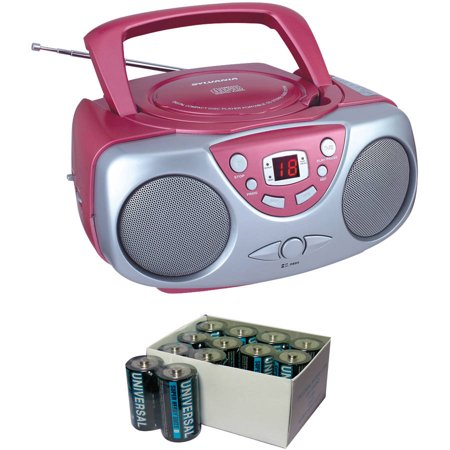 Sylvania SRCD243M Pink Portable CD Boom Boxes with AM/FM Radio and UPG D5624/D5324/D5924 Super-Heavy-Duty Battery Value Box (C; 24-Pack)