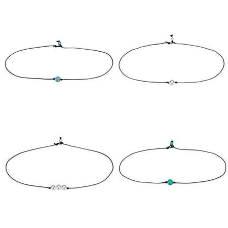 Pearl Bead Necklace Bulk (4 PCS Leather Pearl Bead Choker Necklace, Women Girls Jewelry Handmade)