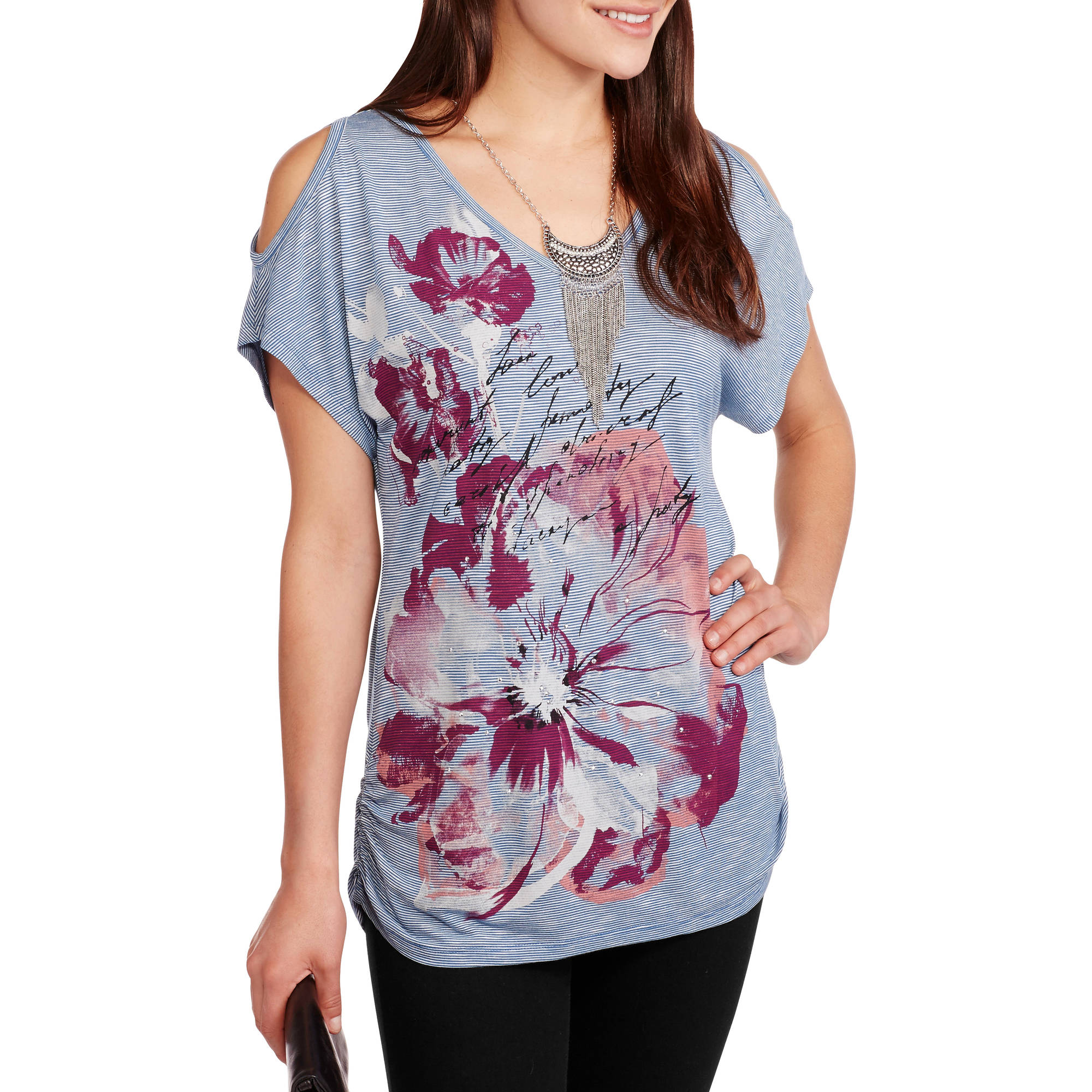 Faded Glory Women's Cold Shoulder Graphic Tee with Flattering Side Ruching