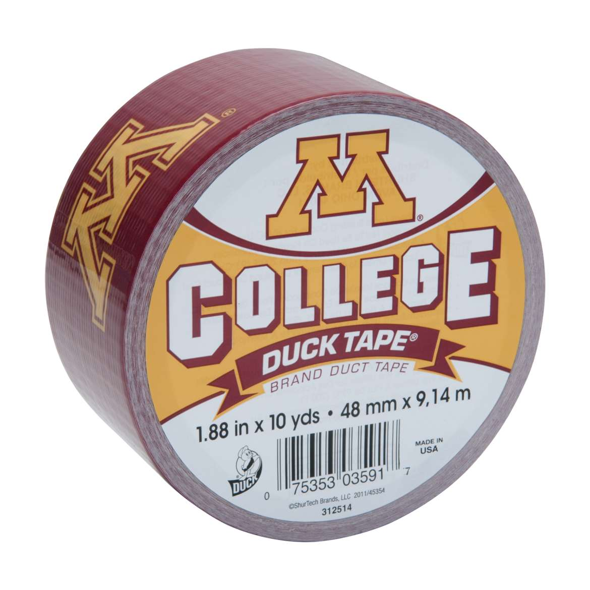 Duck Brand College Logo Duct Tape, 1.88 in. x 10 yds., Minnesota