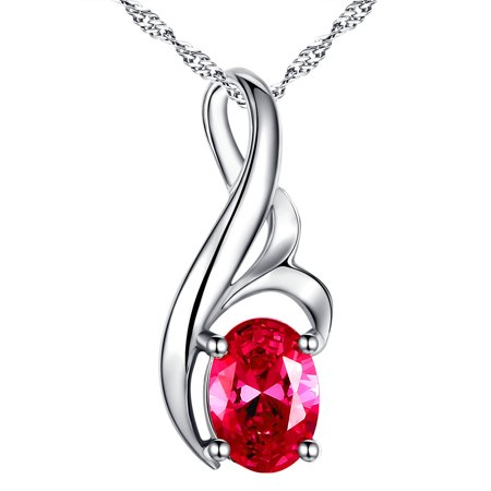 Devuggo Sterling Silver Oval Cut Simulated Ruby Pendant Necklace, Mother's Day Gifts for Women