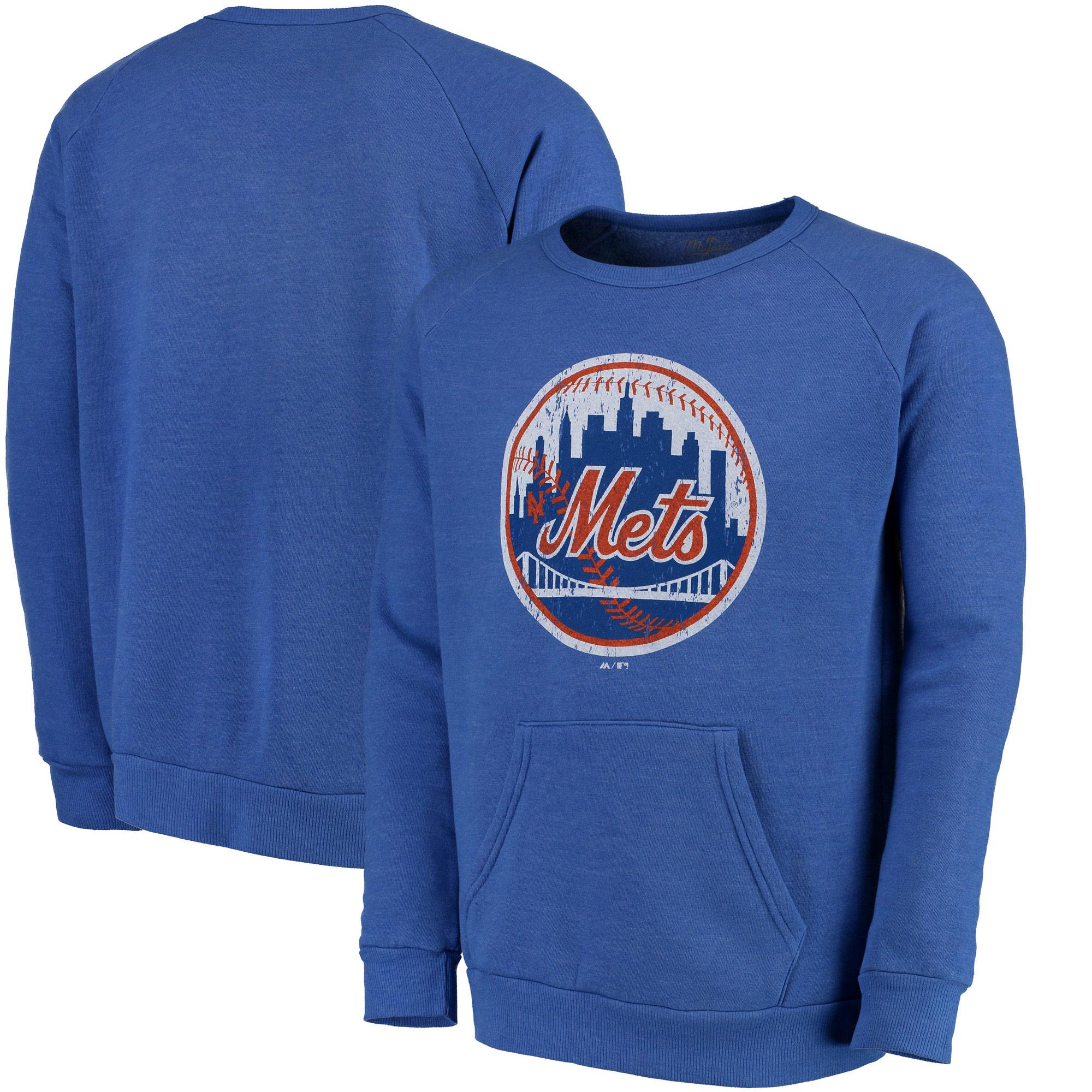 New York Mets Majestic Threads Cooperstown Collection Tri-Blend Pocket Fleece Sweatshirt - Royal