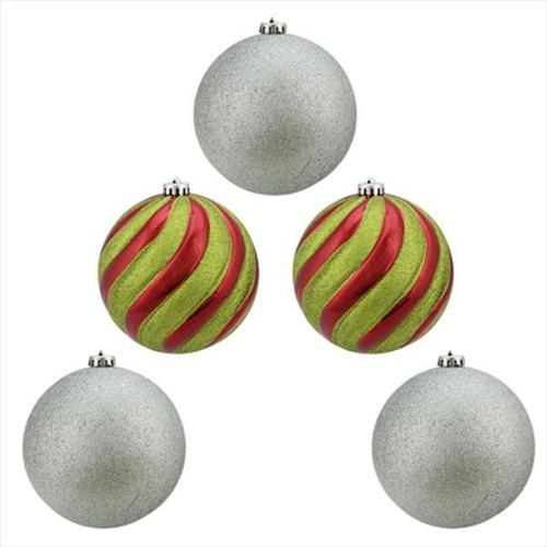 NorthLight 5 Count Shiny Red Green And Silver Glitter Shatterproof Ball Christmas Ornaments 6 inch