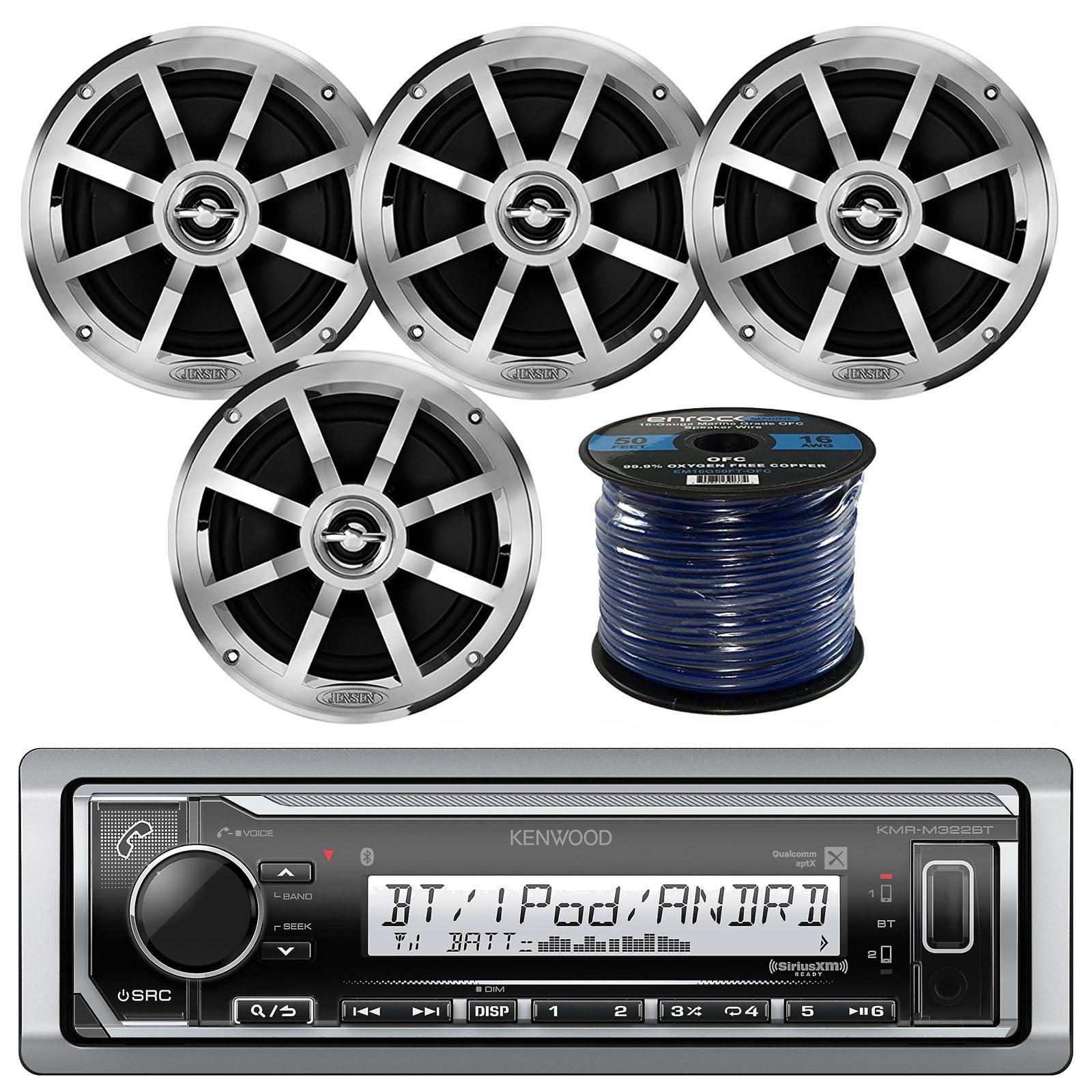 "Kenwood Marine Digital Media Bluetooth Receiver, 4x Jensen Boat 6.5"" Silver Speaker - Single, Marine 50 FT 16-G Tinned Speaker Wire"