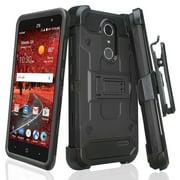ZTE ZMAX One Case, ZTE Blade Spark Z971 Case, ZTE Grand X4, X 4, Rugged Triple Protection [Swivel Belt Clip] Holster Combo Kickstand Cover - Black