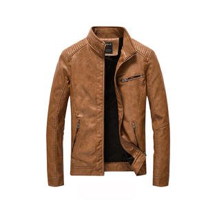Men Solid Colored Long Sleeve Leather Jacket