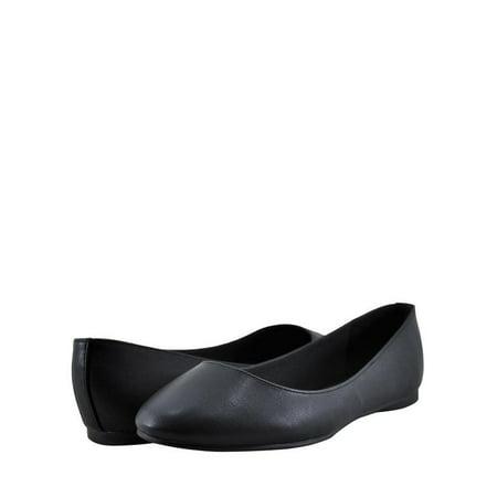 Soda Kreme H Women's Shoes Closed Almond Toe Flat Black (Flat Black Shoes)