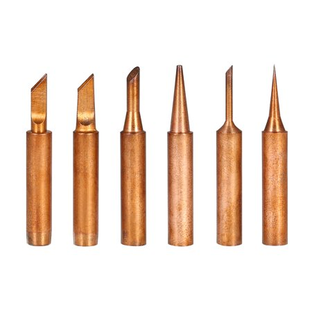 6PCS Copper Soldering Iron Tips Replacement Solder Tip Lead-free Welding Head for 900M-T Soldering Rework Station Repair Tool