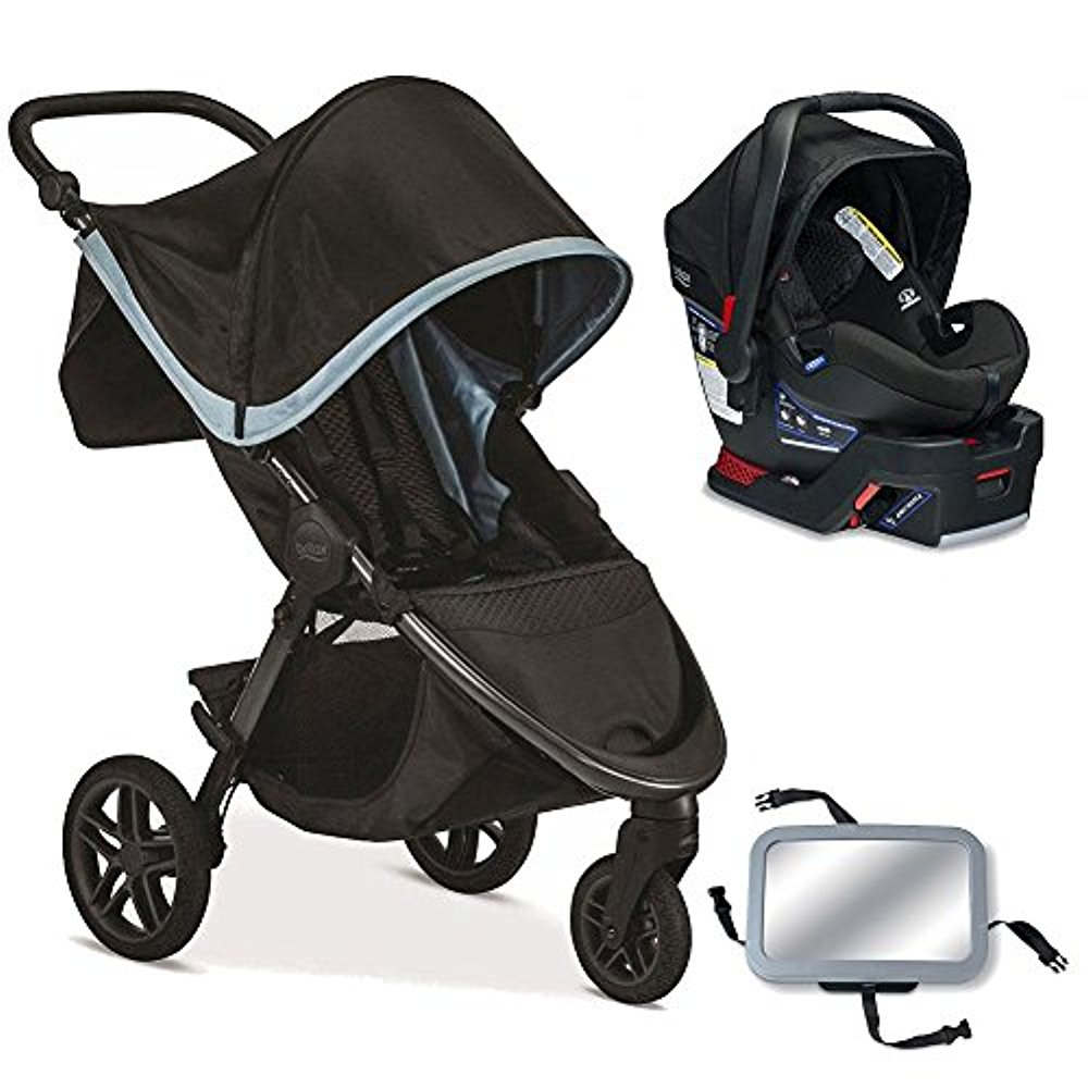 Britax B-Free   B-Safe 35 Infant Baby Stroller Travel System Frost   Midnight with Back Seat Mirror by Britax