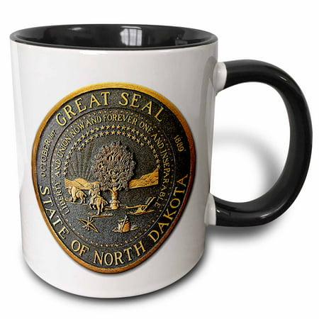 3dRose Great Seal of North Dakota (PD-US), Two Tone Black Mug, 11oz