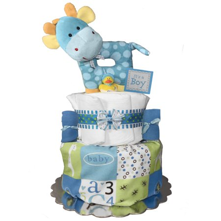 Giraffe Diaper Cake For A Boy Baby Shower Centerpiece Gift Set