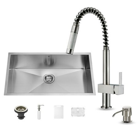 Vigo All In One 32  Undermount Stainless Steel Kitchen Sink And Faucet Set