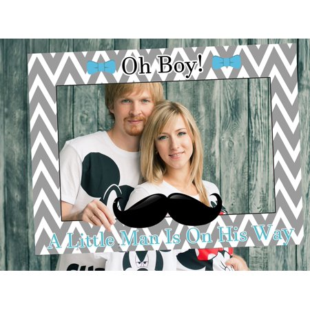 Little Man Baby Shower Decorations, Little Man Photo Booth Prop - Sizes 36x24, Little Men Baby Shower Photobooth Frame, Bowtie, Mustache Baby boy Selfie Prop, Selfie Frame