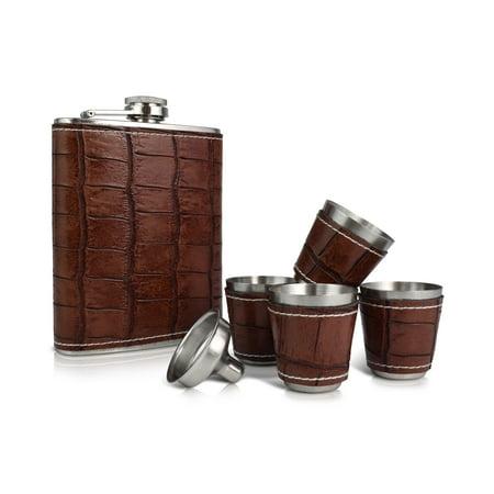 Le Regalo 6 Piece Flask Set - Includes 1 Alcohol Flask, 4 Shot Glasses and 1 Alcohol - Flask Shot Glass
