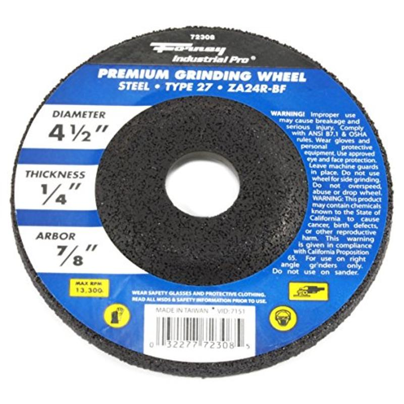 "4-1/2"" x 1/4"" Grinding Wheel, Type 27 Depressed Center Metal w/7/8"" Arbor, ZA24R"