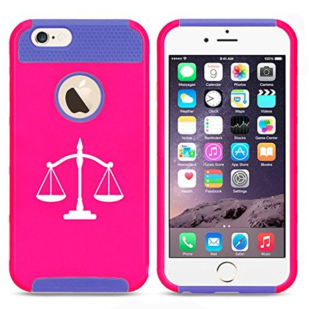 official photos 0a57f db71e Apple iPhone 6 6s Shockproof Impact Hard Case Cover Scales Of Justice (Hot  Pink-Blue ),MIP
