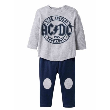 Rock And Roll Outfits (Infant Boys ACDC Rock & Roll Baby Outfit AC/DC Shirt & Pants)