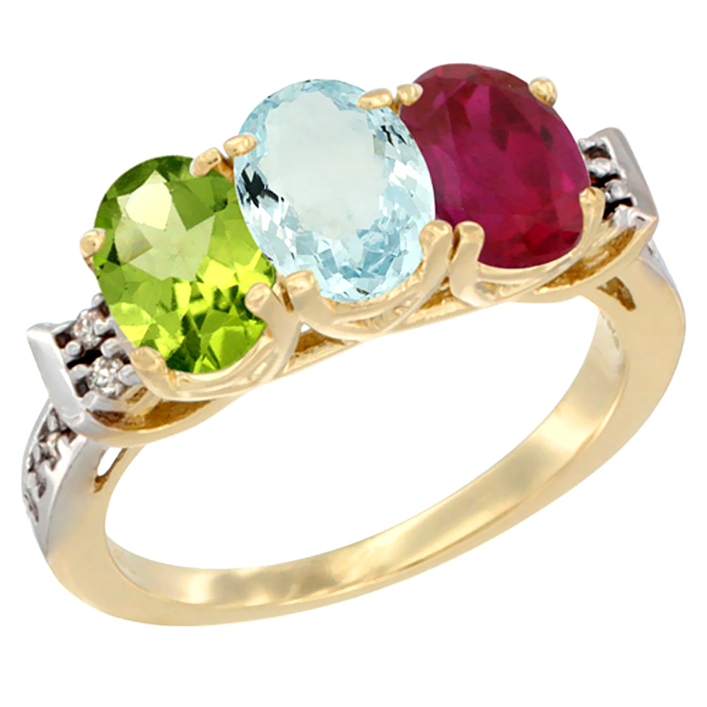 14K Yellow Gold Natural Peridot, Aquamarine & Enhanced Ruby Ring 3-Stone 7x5 mm Oval Diamond Accent, sizes 5 10 by WorldJewels