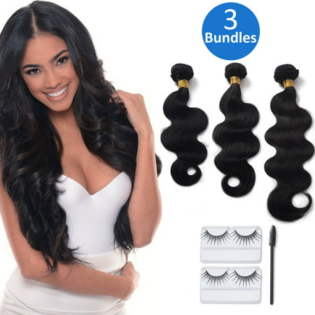 "12""-20"" 3 Bundles Lot Silky Straight/Body Wave Human Hair Extensions Remy 7A Brazilian Virgin Hair Weave Wefts Natural Color"