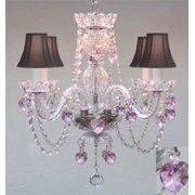 Crystal Chandelier With Pink Hearts and Black Shades