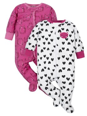 Gerber Baby Girl Zip Up Sleep 'N Play Pajamas, 2-Pack