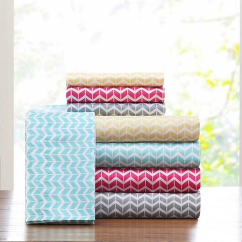 Intelligent Design Chevron Microfiber Sheet Set Twin XL-Aqua