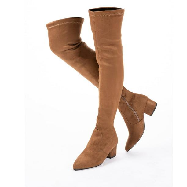 N.N.G - Women Boots Over Knee Long Boots Fashion Boots Heels Autumn Quality  Suede Comfort Square Heels Brown 10 - Walmart.com - Walmart.com