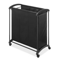 Whitmor 3 Section Laundry Sorter with Wheels Black