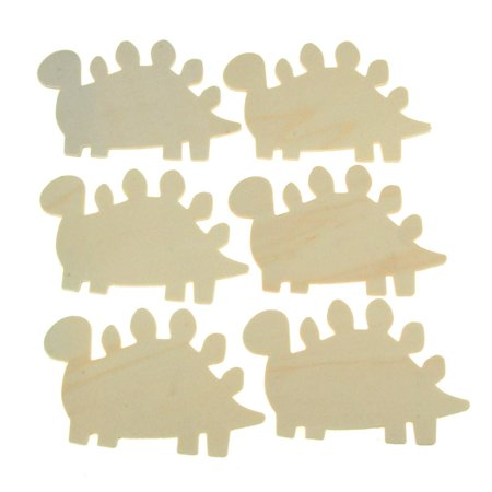 Dinosaurs Laser Cut Wooden Favors, Natural, 3-1/2-Inch, 6-Piece