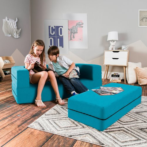 Zoomie Kids Duncan Big Kids Convertible Sleeper Sofa and Ottoman