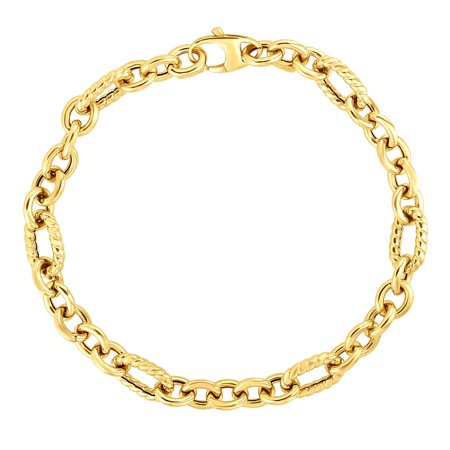 """14kt Gold 7.5"""" Yellow Finish 6.6mm Shiny+Textured Oval Fancy Bracelet with Lobster Clasp"""