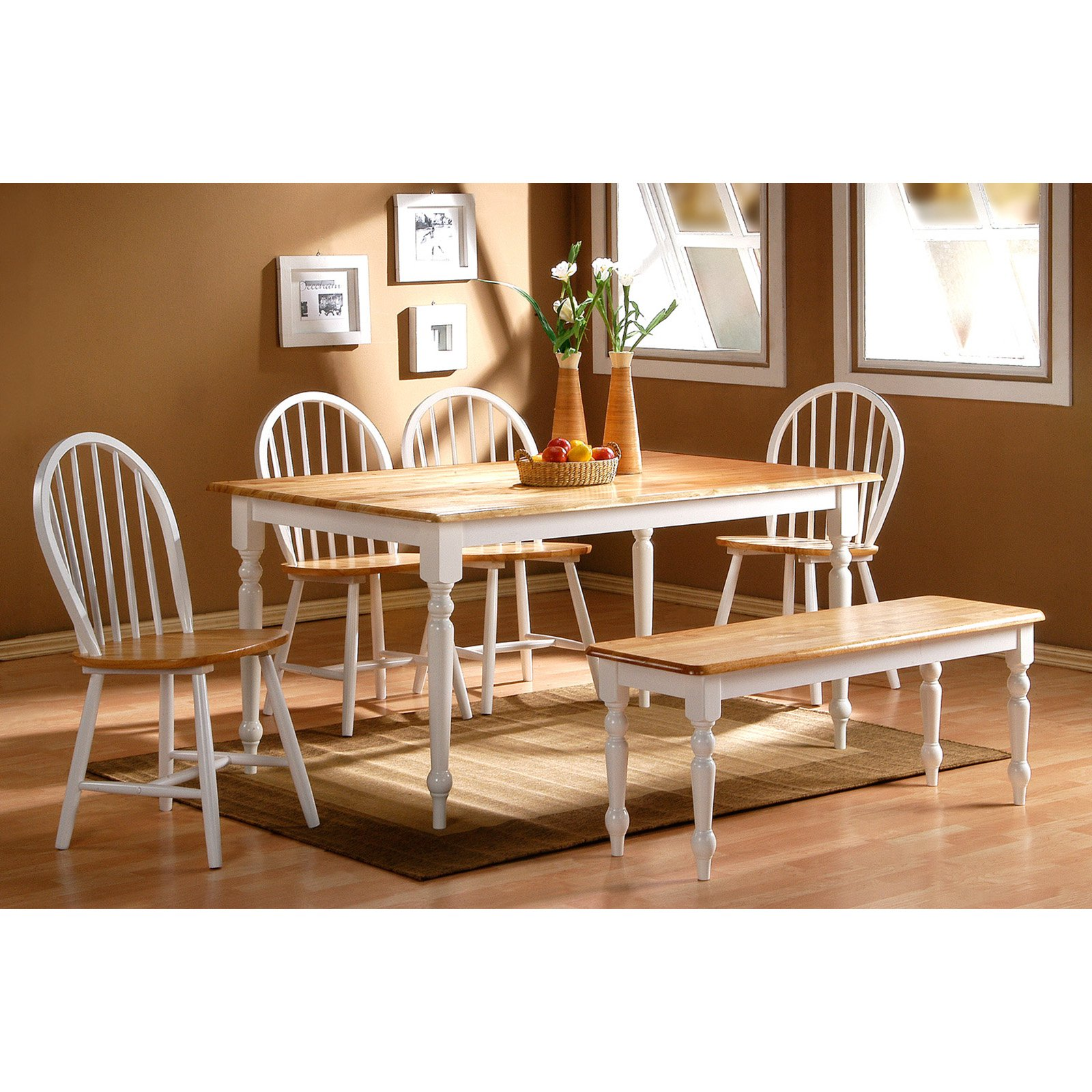 Boraam Farmhouse 6-Piece Dining Set, White/Natural
