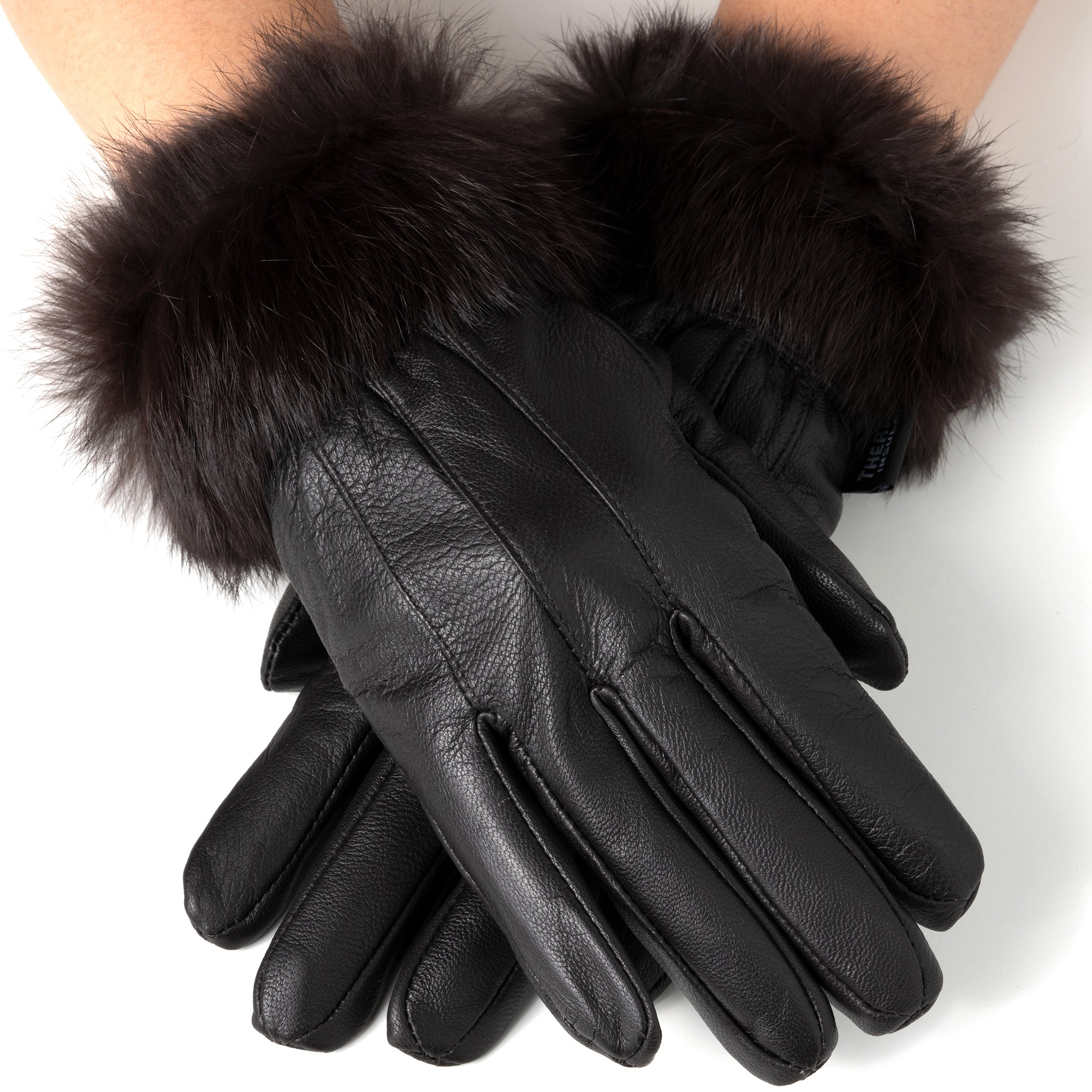 Alpine Swiss Womens Dressy Gloves Genuine Leather Thermal Lining Fur Trim Cuff