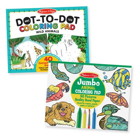 Melissa Doug Animal Coloring Pad 2 Pack Abc 123 Dot To Dot