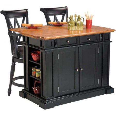 Home Styles Black  Oak Kitchen Island And Two Deluxe Bar Stools By