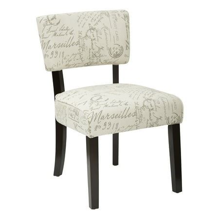 Gardena Dining Chair In Script Fabric With Espresso Legs Fully Kd