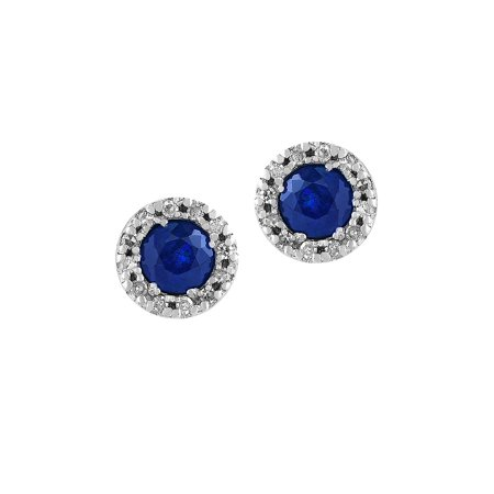 Royale Bleu Diamonds and Sapphire 14K White Gold Stud Earrings 14k White Gold Coral