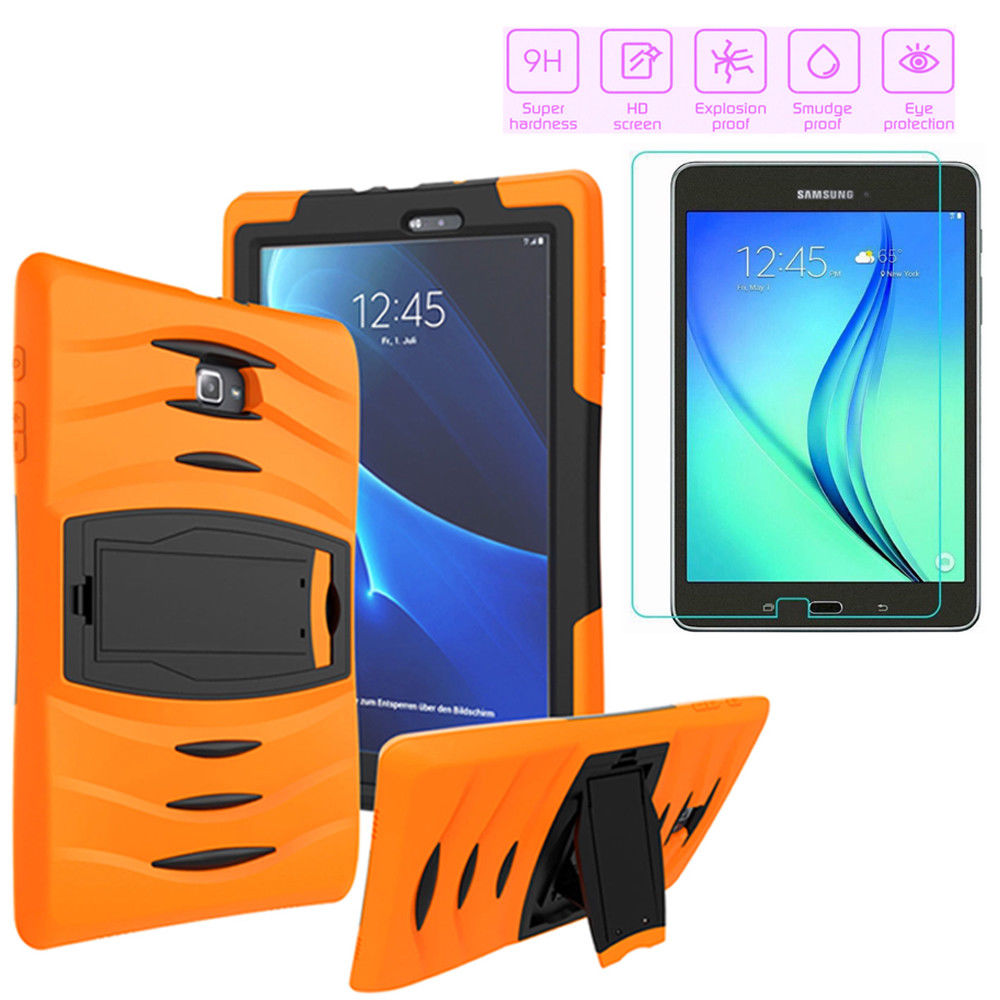 Galaxy Tab E 9.6 Case by KIQ Armor Shockproof Heavy Duty Stand Tempered Glass Protector Stylus Pen Bundle Kit For Samsung Galaxy Tab E 9.6-inch T560 T560NU T560NZ SM-T560 (Black)