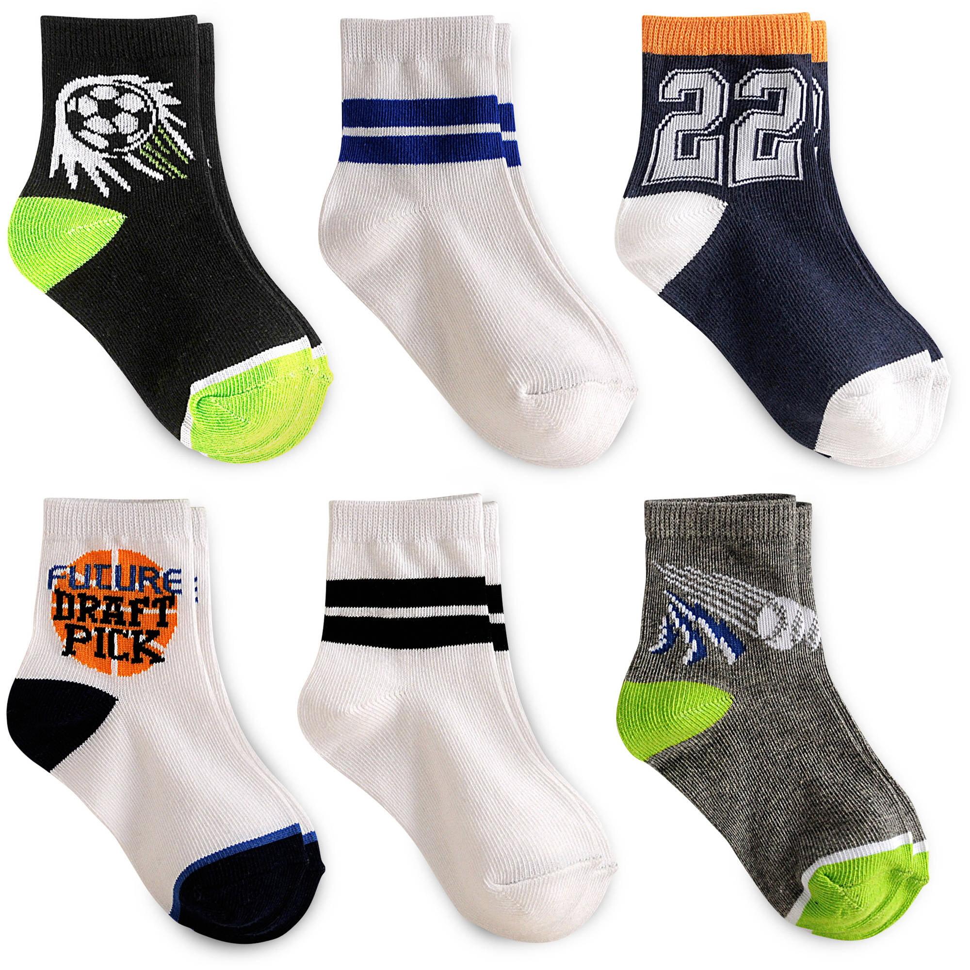 Garanimals Baby Toddler Boy Sports Crew Socks, 6-Pack