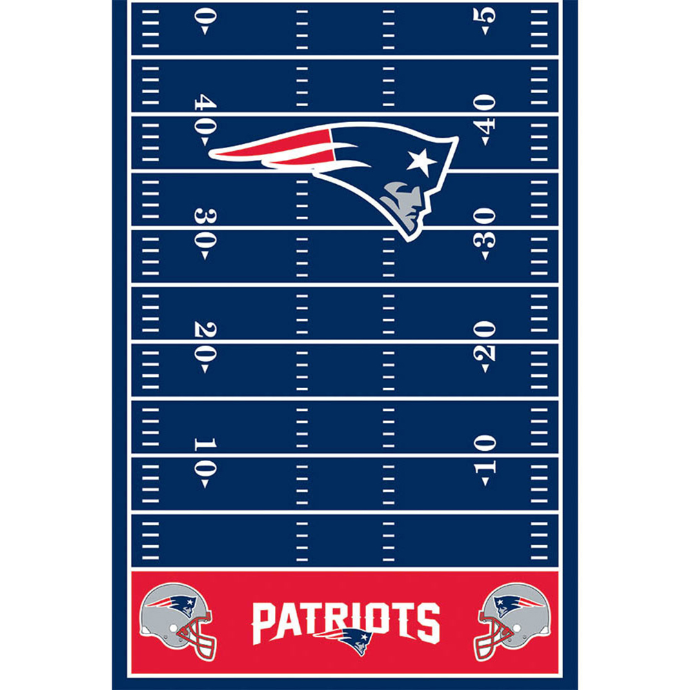 New England Patriots NFL Football 30 in Plastic Tablecover, Red White Blue