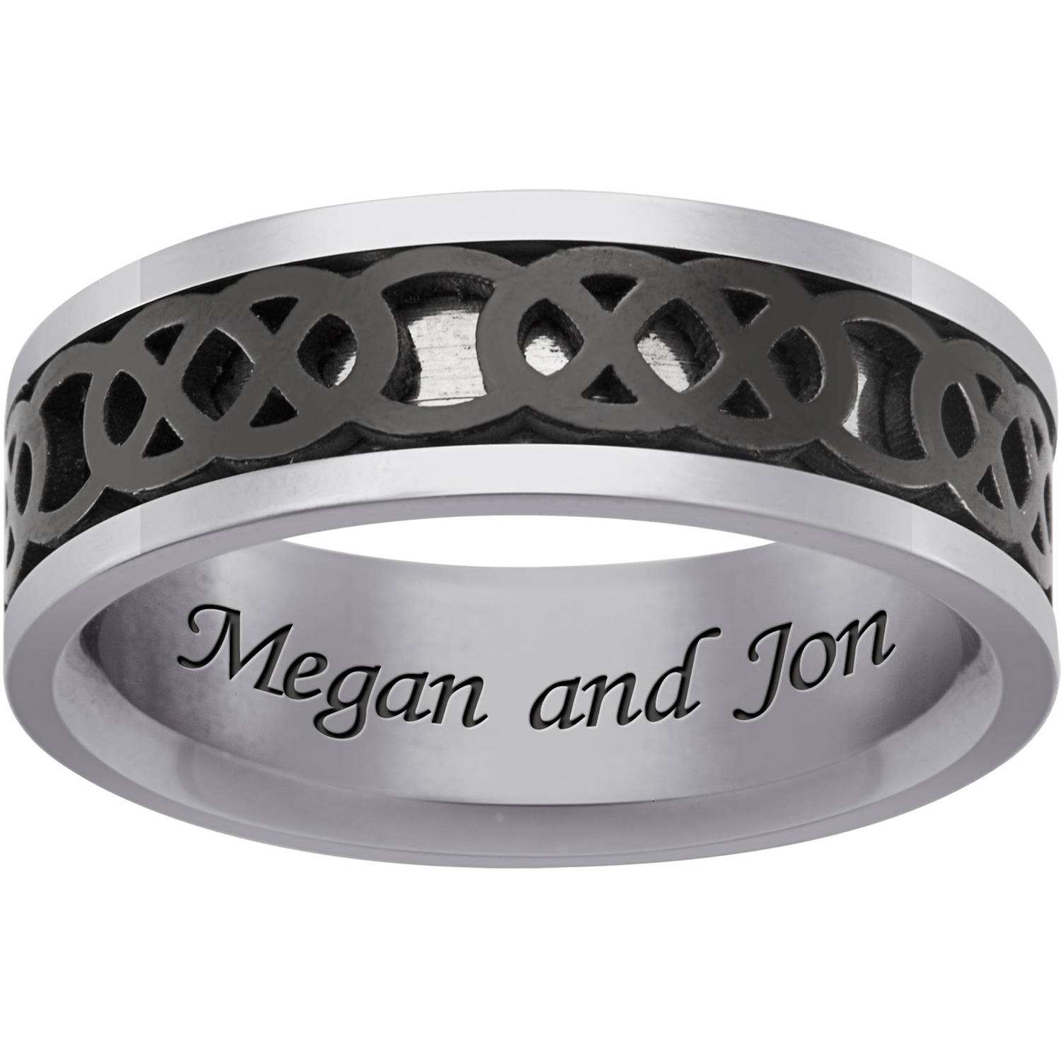 Personalized Stainless Steel and Black IP Celtic Spinner Band